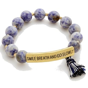 Smile, Breathe and Go Slowly Beaded Message Bracelet in Blue
