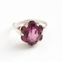 Vintage Simulated Amethyst Ring - Sterling Silver Signed Sarah Coventry Adjustable Purple Glass Stone February Birthstone Jewelry