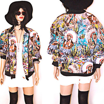 Vintag Native American Print Bomber Jacket 90s Mens Womens Unisex Quilted Oversized Southwest