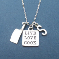 Personalized, Letter, Initial, LIVE LOVE COOK, Chef, Knife, Silver, Necklace, Cook, Culinary, Chef, Jewelry