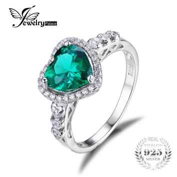 JewelryPalace Heart Of Ocean 1.8ct Created Emerald Love Forever Halo Promise Ring 925 Sterling Silver Ring
