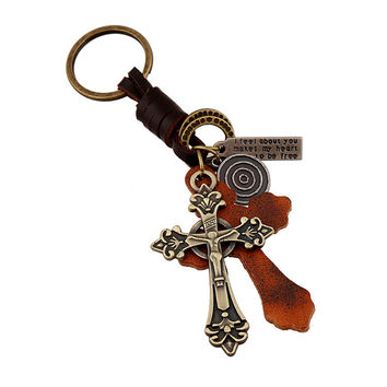 Hot Sale New Arrival Creative Gift Functional Great Deal Trendy Punk Accessory Cross Rack Alloy Leather Vintage Men Keychain [6058337281]