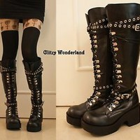 "3"" heels lace up engineer biker motorbike punk rock emo boots cosplay gothic NEW"