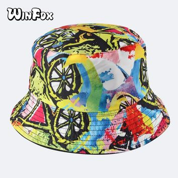 Winfox 2018 New Fashion Summer Reversible Colorful Graffiti Printing Fisherman Bucket Hats Caps For Womens Girls