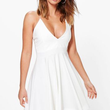 Eliza Strappy Plunge Neck Skater Dress | Boohoo