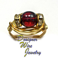 DWJ0256 Czech Glass Ruby Picasso Solitaire Gold Wire Wrap Ring All Sizes