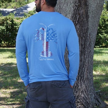 American Flag Spiny Lobster Carolina Blue Soft Performance Long Sleeve Tee