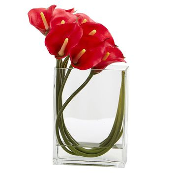 Silk Flowers -12 Inch Red Calla Lily In Rectangular Glass Vase Artificial Plant