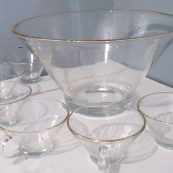 Sale, Punch Bowl Set, Clear Glass, Gold Rims, Vintage