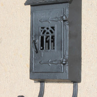 Rare Griswold No.1 Cast Iron Mailbox with Newspaper Holder