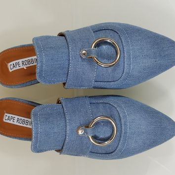 Pointy Toe Denim Flats Mules Clog Bull Ring Slipper Shoes