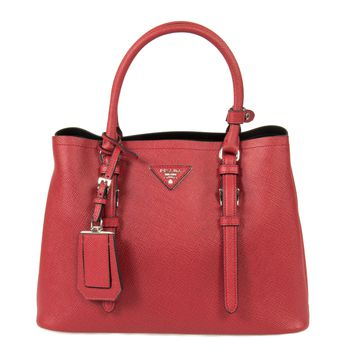Prada Double Tote Leather Bag 1BG883 F068Z | Red/Fuoco | Small