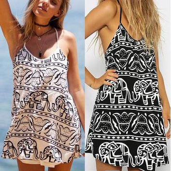 Hot Vestidos Casual Women Summer Dress 2016  Elephant Print Loose Beach Dress Plus Size Women Backless Dress Clothing