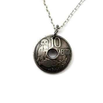Greek Owl, Domed Coin Necklace, 1912, Greece Pendant, 10 Lepta, Eco-Friendly Jewelry by Hendywood