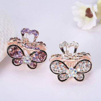 1PC Women Retro Vintage Crystal Rhinestone Mini Butterfly Crown Hairpins Hair Claws Hair Clips Barrettes Hair Accessories