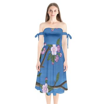 Cherry Blossoms Shoulder Tie Bardot Midi Dress