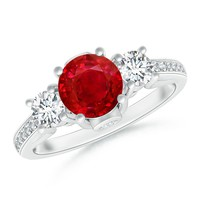 Ruby and Diamond Three Stone Engagement Ring