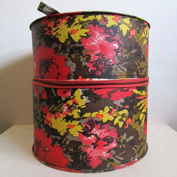 Vintage 1960s Luggage Pink Green Floral Wig Case 60s Carry On Hardcase Bag