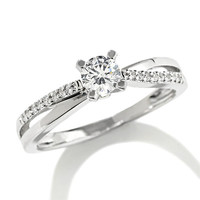 1/4 CT. T.W. Diamond Criss-Cross Ring in 10K White Gold   - View All Jewelry - Gordon's Jewelers