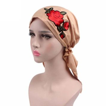 Rose Embroidery Women Knitted hat Fashion Fitted Print Cancer Chemo Hat Beanie Scarf Turban Head Wrap Cap Hot Sale