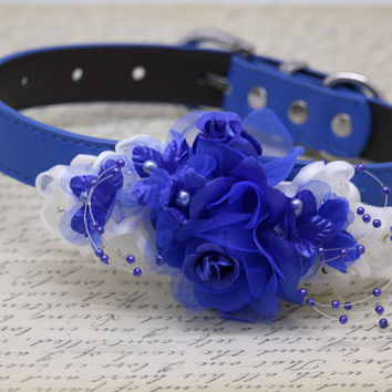 Floral Royal Blue and White Wedding Dog Collar, Royal Blue Pet Floral wedding