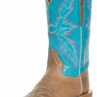 "Dan Post Womens Flagger 11"" Cowboy Boots - Sand/Turquoise"