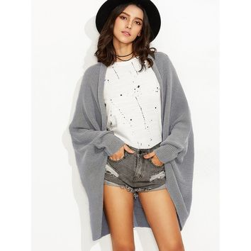 Dolman Sleeve Curved Cocoon Cardigan