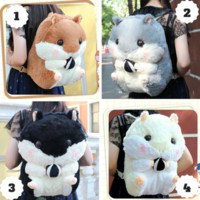 4 Colors Kawaii Hamster Plush Backpack SP164963 from SpreePicky