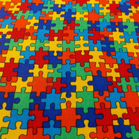 Jigsaw Fabric Autism Fabric Rainbow Fabric Primary Colored Fabric Quilt Fabric Craft Fabric Pillow Fabric Doll Fabric