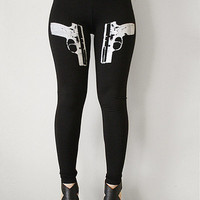 9mm Gun Leggings Womens Black leggings Weapon Fashion Trend Roller Derby Leggings Yoga Fitness from R+E