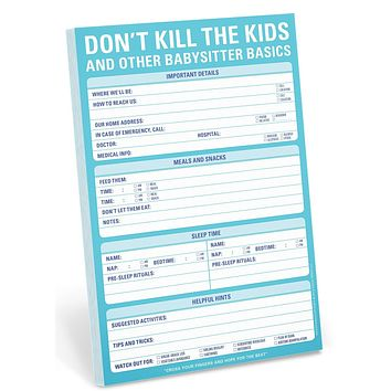 Don't Kill the Kids and Other Babysitter Basics Notepad Stationery