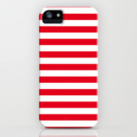 Red Nautical Stripes Artsy Vintage  iPhone Case by The Little Canopy | Society6