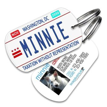 Washington DC License Plate Pet Tag