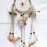"15"" L Handmade Hanging Natural Real Feather Dream Catcher Decor Traditional #F"