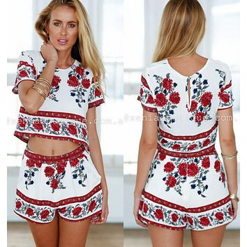 FASHION PRINT TWO PIECE FLOWER SUIT ROMPER