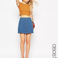 ASOS TALL Denim Look A-Line Mini Skirt With Button and Pocket Detail