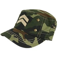 Military Studded Stripes Cap Hat - Army Navy Air Force Marines Wife (Camo)