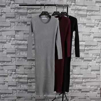 autumn Winter Hot Casual Fashion brand clothing Long Sleeve robe longue femme cashmere Knitted long Sweater Dress For Women 973
