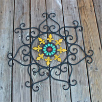 Metal Wall Fixture /Bright Teal Blue, Red , Mustard yellow /Distressed Patio Decor /Painted /Outdoor Up Cycled Iron Art /Ornate Design /Beac