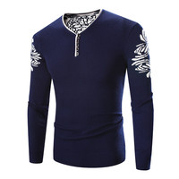 Form Fitting Cotton Knit Pullover with Floral Embroidery on Sleeves