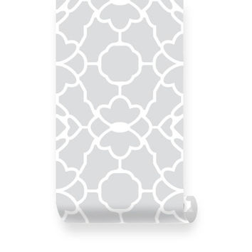 Large Trellis Pattern Grey Fabric Wallpaper