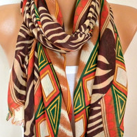 Brown Tones Cotton Scarf Shawl Spring Summer Scarf Cowl Oversized Wrap Gift Ideas For Her Women Fashion Accessories Mother Day Gift