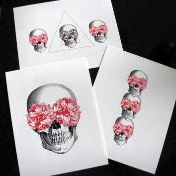 Floral Skull and Triangle Set of 3 Mixed Media Illustration Art Print for Home Wall Decor
