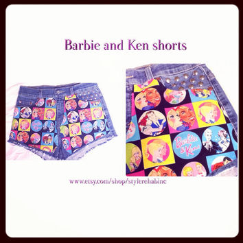 New Just In, Barbie and Ken Jean shorts with round studs. Will not last. Totally amazing. Hotpink, black, yellow, aqua. Girls and women.