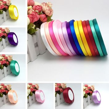 "15 Colors Solid Color 1 roll 25 yard 1/4""(6mm) single face satin ribbon,25yards/roll option Color gift packing Wedding decor"