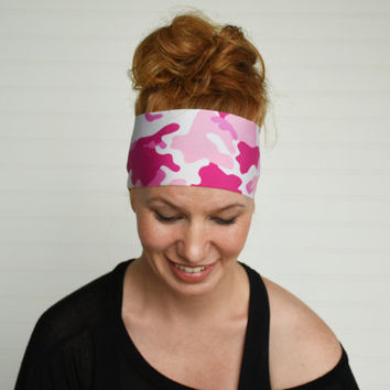 Yoga headband, White and pink camo, Workout headband, Running headband, Fitness headband, Womens fabric headband, Stretch headband