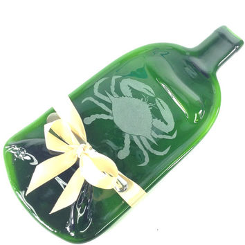 Melted Wine Bottle Cheese Tray with Blue Crab Design / Beach Home Decor / Eco Friendly Gift Idea