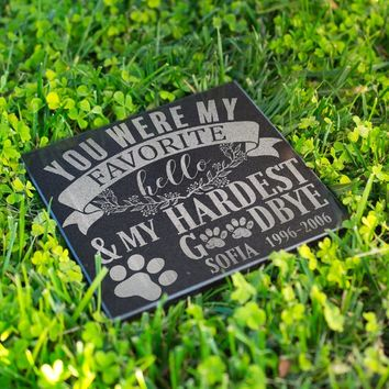 Personalized Memorial Pet Stone Granite - My Hardest Goodbye Engraved Headstone, Burial Cemetery Stone, Grave Marker for Best Companion #3