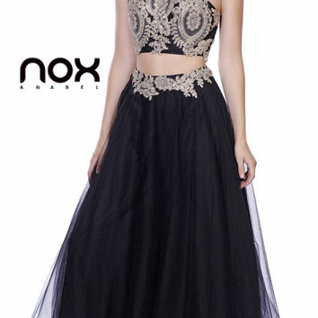 Black/Gold Embellished Halter Two-Piece Prom Dress Long