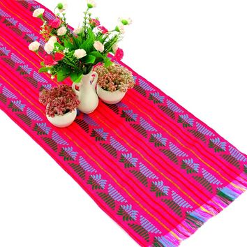 Mexican table runner, Pink Table runner 14x72 Inches, Fiesta Decoration, Cinco de Mayo, Boho Chic Decor, Fiesta Decor linens.
